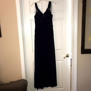 Long formal dress with pleat and bead details